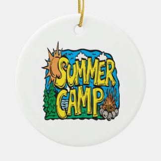 Summer Camp Round Ceramic Ornament