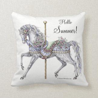 Summer Carousel Horse Drawing Pillow