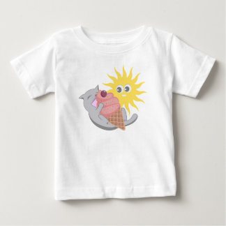 Summer Cat Eating Ice Cream Baby T-Shirt