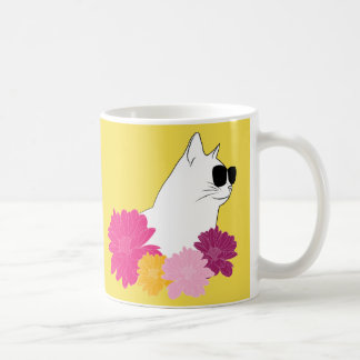 """""""Summer cat"""" with sunglass and coloring flowers Coffee Mug"""