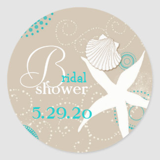 Summer Celebration Beach Bridal Shower Round Sticker