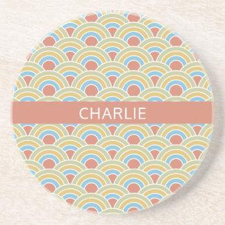 Summer Circles custom name sandstone coaster