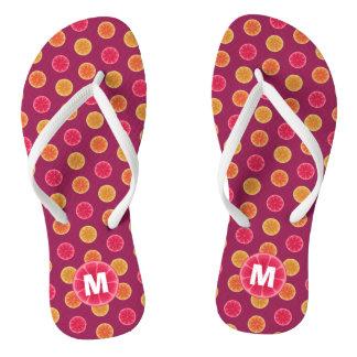 Summer Citrus Fruit Slice Tropical Monogrammed Flip Flops