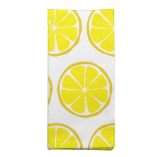 Summer Citrus Lemon Cloth Napkins (Set of 4)