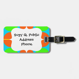 Summer Citrus Lime Green Orange Yellow Teal Circle Luggage Tag