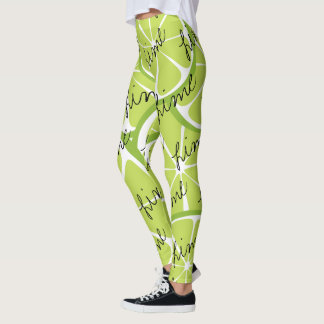Summer Citrus Lime Leggings - Bold Print Plus