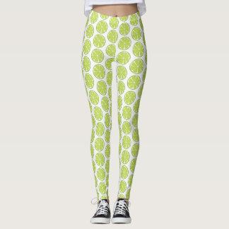 Summer Citrus Lime Leggings - Tile Print