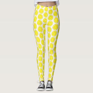 Summer Citrus Lmeon Leggings - Tile Print
