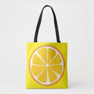 Summer Citrus Orange on Lemon Tote
