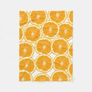 Summer Citrus Orange Slices Fleece Blanket