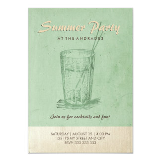 Summer Cocktail Party Adult Retro Style Mint Green Card