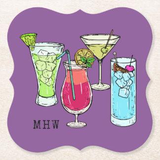 Summer Cocktails custom monogram paper coasters