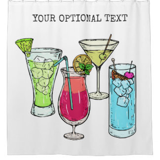 Summer Cocktails custom text shower curtain