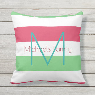 summer color stripes & personalized monogram outdoor pillow