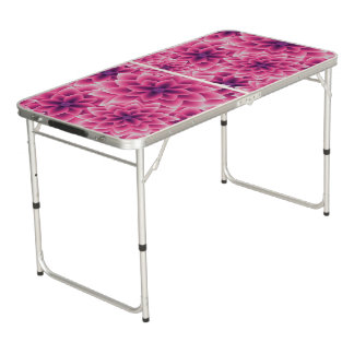 Summer colorful pattern purple dahlia beer pong table