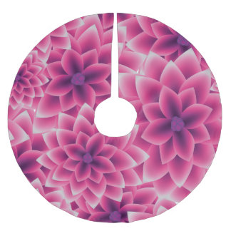 Summer colorful pattern purple dahlia brushed polyester tree skirt