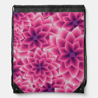 Summer colorful pattern purple dahlia drawstring bag