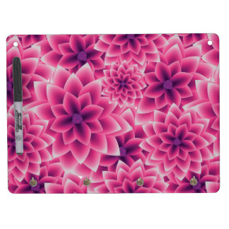 Summer colorful pattern purple dahlia dry erase board with keychain holder