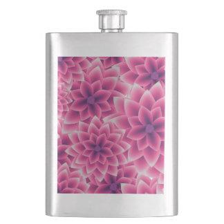 Summer colorful pattern purple dahlia hip flask