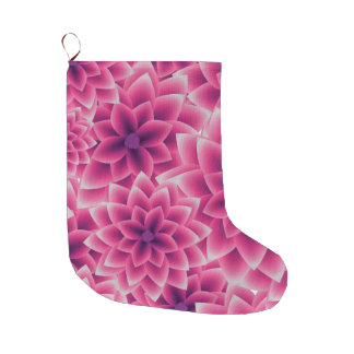 Summer colorful pattern purple dahlia large christmas stocking