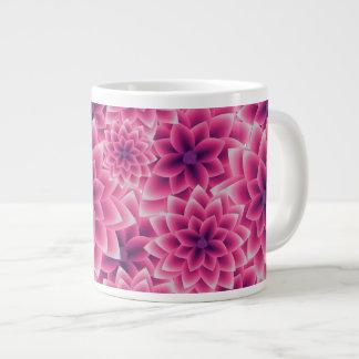 Summer colorful pattern purple dahlia large coffee mug