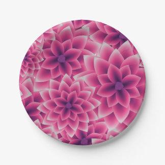 Summer colorful pattern purple dahlia paper plate
