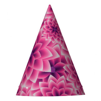 Summer colorful pattern purple dahlia party hat