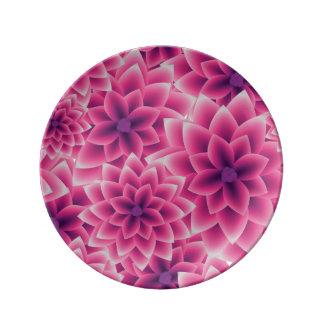 Summer colorful pattern purple dahlia plate