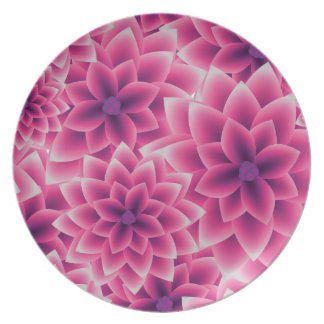 Summer colorful pattern purple dahlia plate