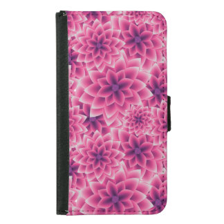 Summer colorful pattern purple dahlia samsung galaxy s5 wallet case