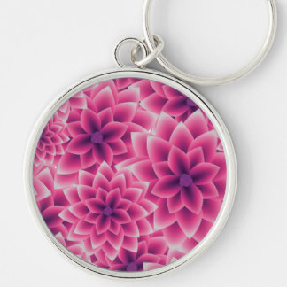 Summer colorful pattern purple dahlia Silver-Colored round keychain