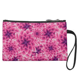 Summer colorful pattern purple dahlia suede wristlet