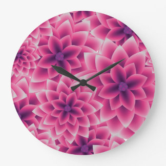 Summer colorful pattern purple dahlia wall clock