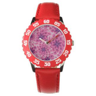 Summer colorful pattern purple dahlia wrist watch