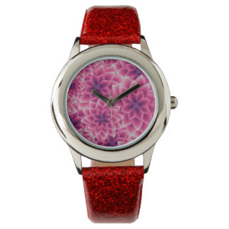 Summer colorful pattern purple dahlia wrist watches