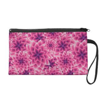 Summer colorful pattern purple dahlia wristlet