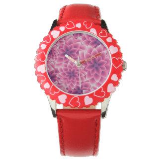 Summer colorful pattern purple dahlia wristwatch