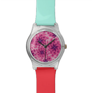 Summer colorful pattern purple dahlia wristwatches