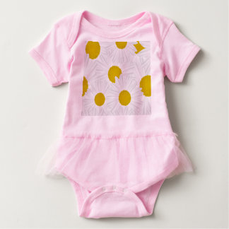 Summer colorful pattern purple marguerite baby bodysuit