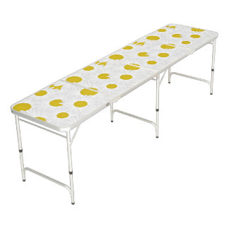 Summer colorful pattern purple marguerite beer pong table