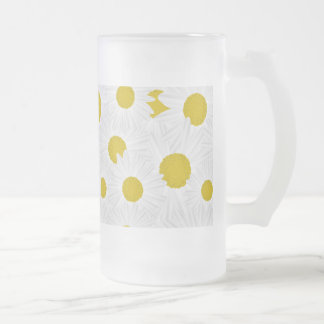 Summer colorful pattern purple marguerite frosted glass beer mug