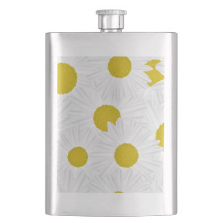Summer colorful pattern purple marguerite hip flask