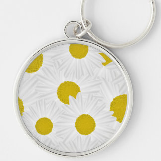 Summer colorful pattern purple marguerite Silver-Colored round keychain