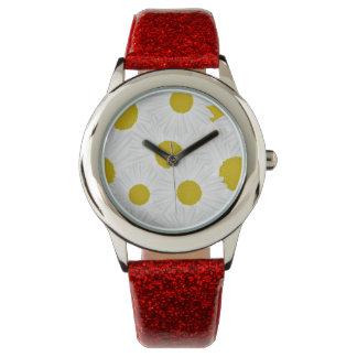 Summer colorful pattern purple marguerite wrist watches