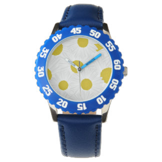 Summer colorful pattern purple marguerite wristwatch