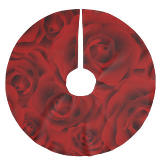 Summer colorful pattern rose brushed polyester tree skirt