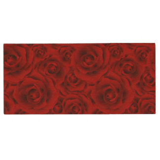 Summer colorful pattern rose wood USB flash drive