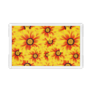 Summer colorful pattern yellow tickseed acrylic tray