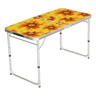 Summer colorful pattern yellow tickseed beer pong table