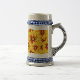 Summer colorful pattern yellow tickseed beer stein
